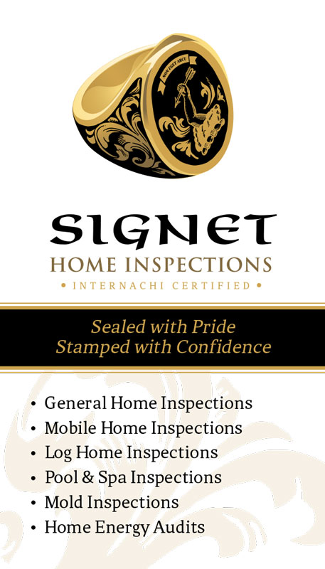 Signet Home Inspections Business Cards side 1