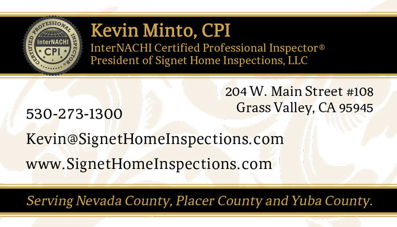 Signet Home Inspections Business Cards side 2