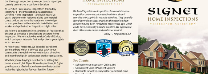 The marketing materials are now<br />complete at Signet Home Inspections