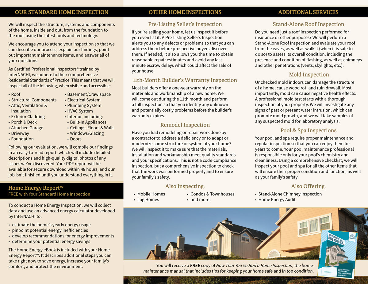 Signet Home Inspections brochure side 2